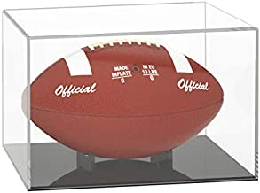 NIUBEE Acrylic Football Display Case, Clear Storage Case with Black Base, Include Support Ball Stand?12.2×7.2×8in