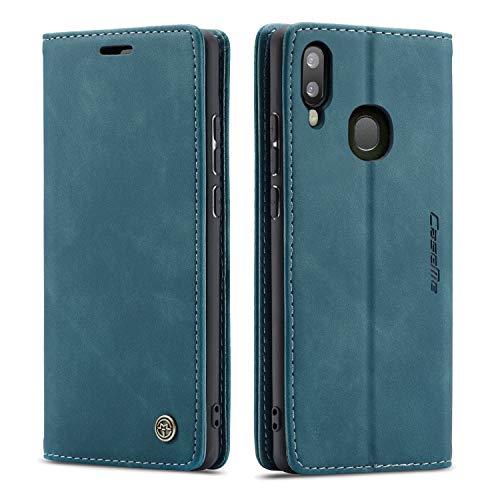 QLTYPRI Hülle für Samsung Galaxy A50, Vintage Dünne Handyhülle mit Kartenfach Geld Slot Ständer PU Ledertasche TPU Bumper Wallet Case Flip Schutzhülle für Samsung Galaxy A30S A50 A50S - Blau