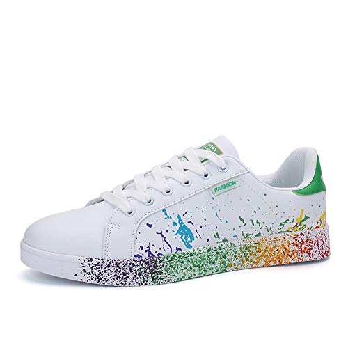 JEDVOO Homme Femme Sneaker Low Top Turnschuhe Sportschuhe Freizeitschuhe Bunte Stoffschuhe(XCX800Green41)