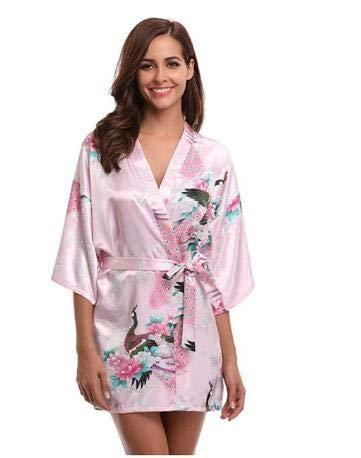 Satén de Seda Boda Novia Dama de Honor Albornoz Floral Albornoz Corto Kimono Bata de Noche Bata de baño Bata de Moda para Mujer-a10-L