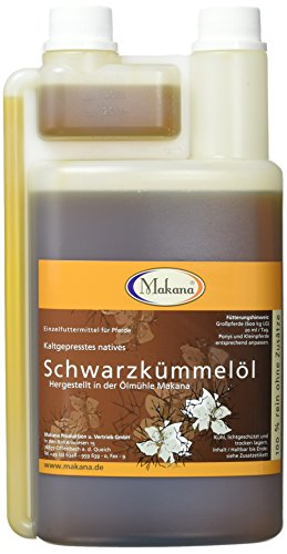 Makana kogelolie voor dieren, koudgeperst, 100% puur, 1000 ml PE-doseerfles (1 x 1 l)