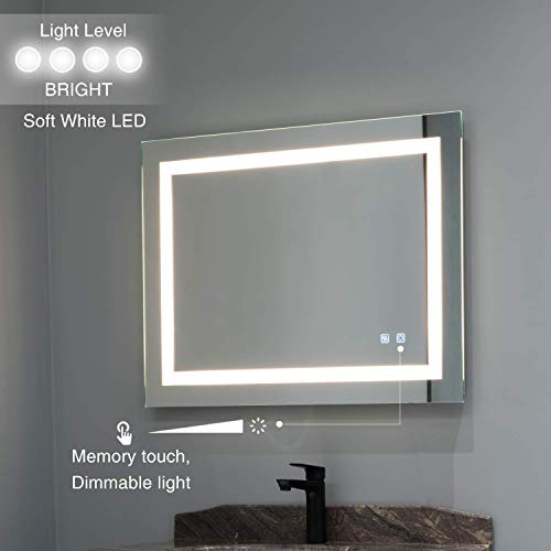 ExBrite LED Bathroom Mirror, 36 x 28 inch, Anti Fog, Dimmable, Touch -
