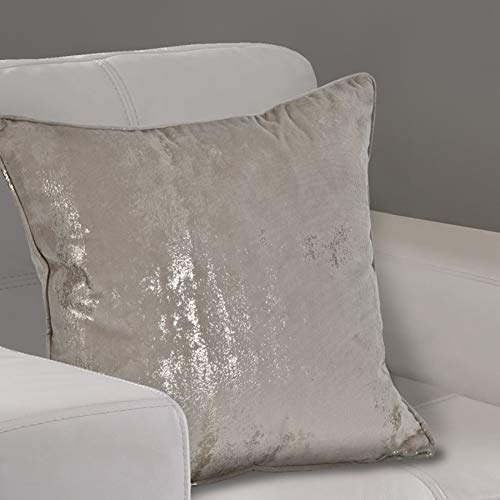 The Textile House Margo Metallic Velvet Effect Cushion Covers (Pair) - 18' x 18' - Finished In Champagne/Gold