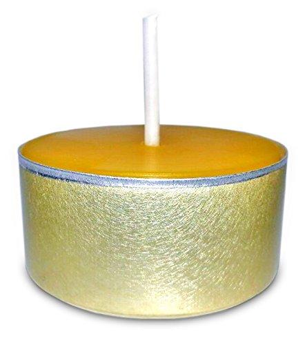 Velas de té de cera de abeja 100 % en soportes de aluminio dorados, 22 unidades