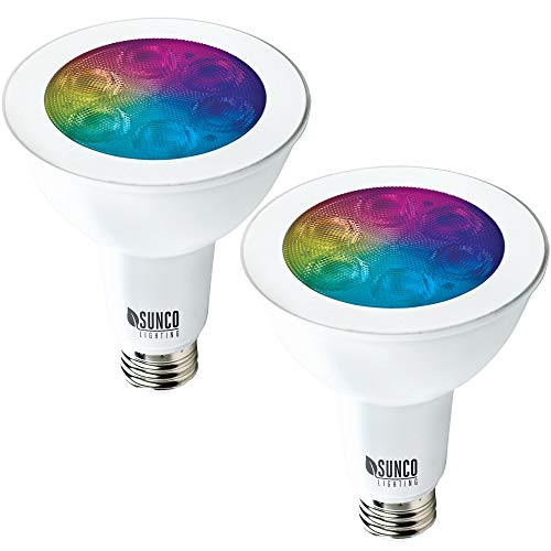 Sunco Lighting 2 Pack WiFi LED Smart Bulb, PAR30, 11W, Color Changing (RGB & CCT), Dimmable, Compatible with Amazon Alexa & Google Assistant - No Hub Required
