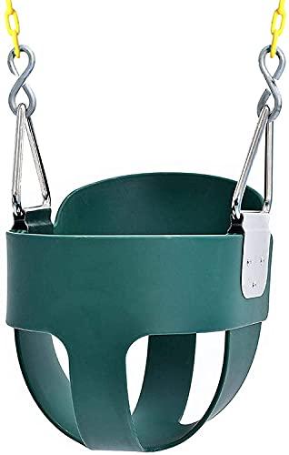 YUFAN Juego de columpio para niños con cadenas de columpio, cubo completo para niños, columpios para bebés, asiento de columpio para bebé al aire libre (verde)
