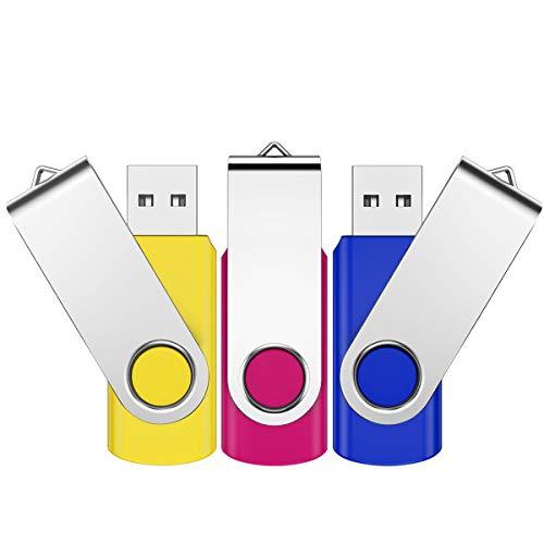 Juego de 3 unidades de memoria USB 2.0 de 8 GB, mini unidad de memoria USB, memoria para el pulgar, ideal como regalo de Navidad/cumpleaños, para escuela, oficina, niños y hogar (multicolor)