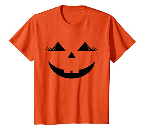 Niños Calabaza Emoji con Pestañas Disfraz Halloween para Niñas Camiseta