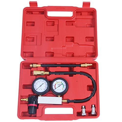 Lopbinte Zylinder Tester Detektor Motor Kompression Leck-Down Test Gauges Set & Red Case