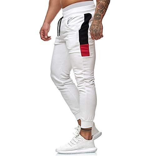Vanornia Pantaloni Sportivi da Uomo Pantaloni a Matita per Jogging Allenamento con Coulisse Streetwear Slim Fit Casual (Bianco, L)