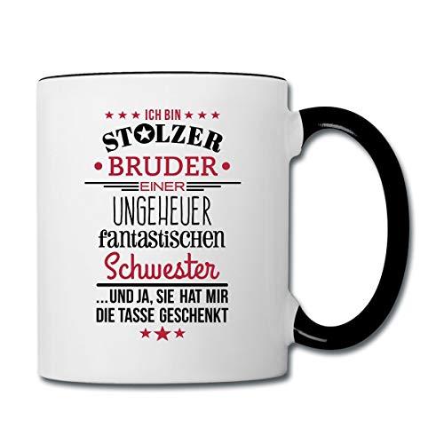 Stolzer Bruder Fantastische Schwester Spruch Tasse zweifarbig, Weiß/Schwarz