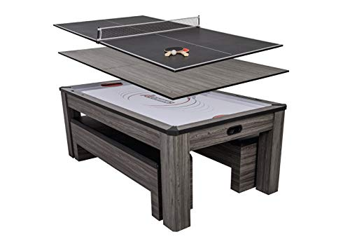 Atomic Northport 3-in-1 Dining Table with Air-Powered Hockey and Table Tennis, Black