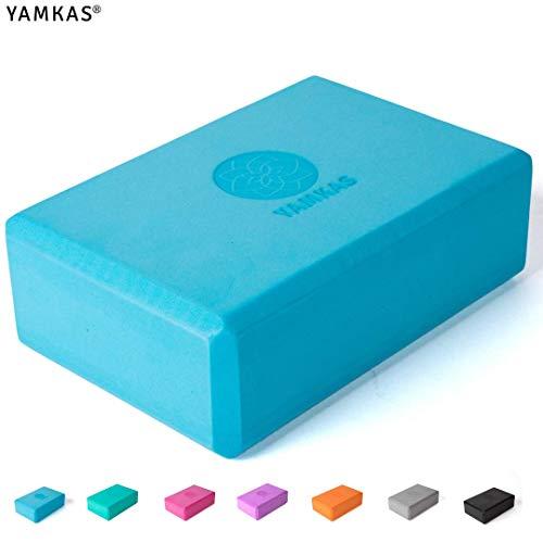 Yamkas Bloque de Yoga | 1 o 2 Piezas | Yoga Block Espuma Eva | Bloques para Ejercicio y Pilates | Ladrillo Yoga | Azul