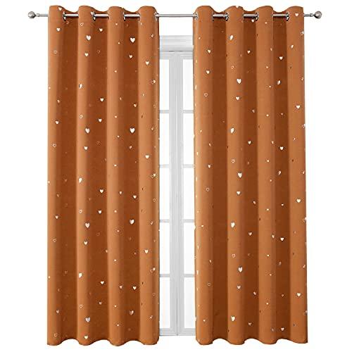 SMILEWEAVER Burnt Orange Blackout Curtains for Kids Bedroom Silver Print Room Darkening Panels Thermal Insulated Panels for Living Room/Bedroom/Nursery Decor 2 Panels Pumpkin Yellow/52Wx84L