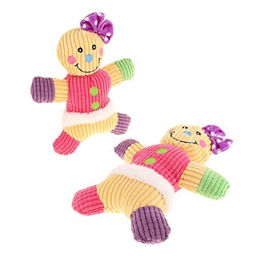 SM SunniMix 2X Niedlich Lebkuchenmann Hundespielzeug Plüsch Kauspielzeug mit Quietscher für Hund oder Katze - Rosa