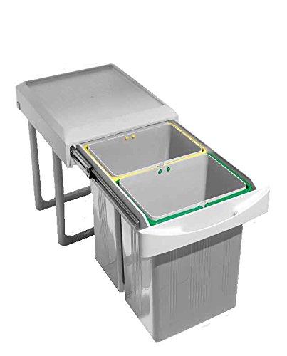 Cubo de basura extraíble para debajo del fregadero compuesto de 2 contenedores diferenciados