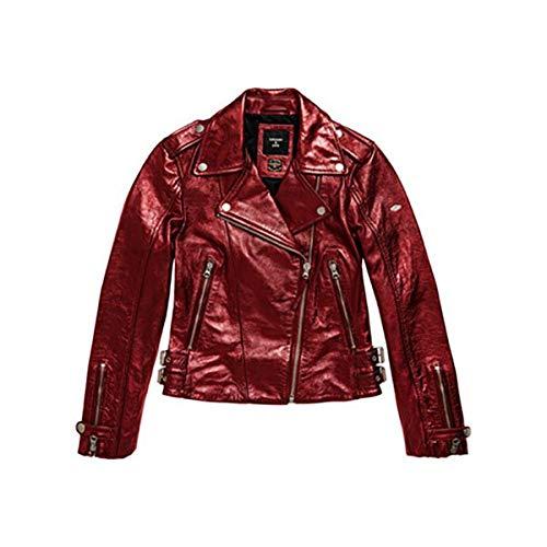 Superdry A3-Leather Chaqueta de Cuero, Red Metallic, S para Mujer