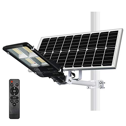 YQL 200W Powered LED Outdoor Solar Street Flood Lights ip65 Waterproof with Remote Control 2200K-7000K Color Temperature Dawn to Dusk Security Floodlight for Pathway Garden Patio Yard Backyard