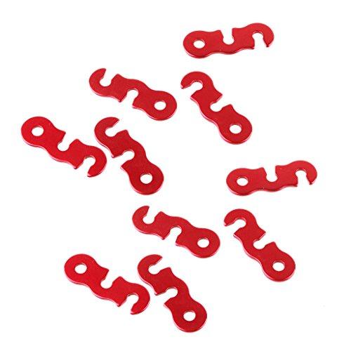 chiwanji 10x Aluminio Rojo Carpa Toldo Cuerda Sujetador Línea de Tipo Corredores Tensores