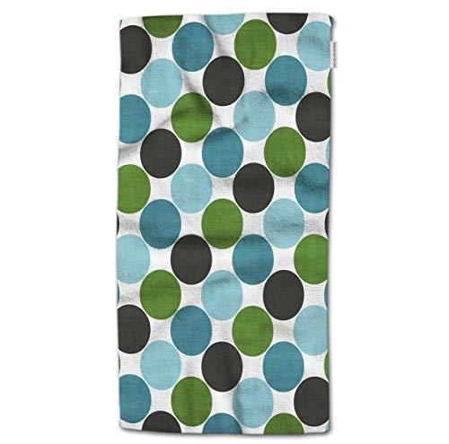 "HGOD DESIGNS Hand Towel Dot,Cartoon Big Polka Dot Pattern Green and Blue Hand Towel Best for Bathroom Kitchen Bath and Hand Towels 30"" Lx15 W"