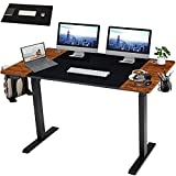 HOMHUM Electric Height Adjustable Standing Desk, 55 x 24 Inch Sit to Stand Desk, Industrial Modern Laptop Table w/Memory Settings, Splice Board, Large Mouse Pad for Home Office Workstation, Black