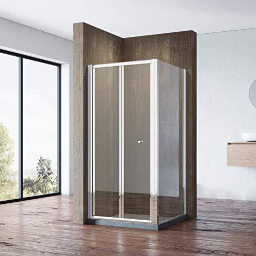 SONNI Duschkabine Falttür Duschwand glas faltbar für Badezimmer 90x90cm mit Seitenwand