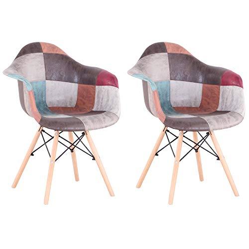 GrandCA HOME Pack de 2 sillas,sillas de Comedor Patchwork Tela de Lino Butaca, Silla de salón, sillas de recepción, Silla de Cocina (marrón-2)