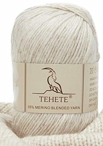 TEHETE 35% Filato di lana merino, peso della diteggiatura, filato per maglieria a mano e uncinetto, 003