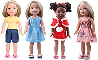 14inch Doll Clothes -Including 4sets+1Pair of Hair Terry +1Hair Band +1Bracelet Accessories fit American Wellie Wishers