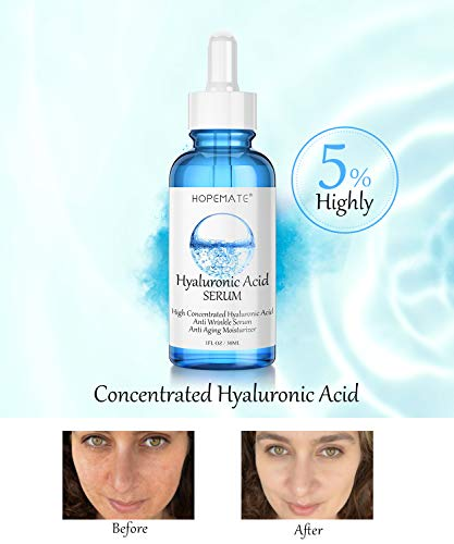 41CfPnwIFLL - Hyaluronic Acid Skin Care Serum, HOPEMATE H Natural Botanical Serum Serum, 5% Pure Hyaluronic Acid Face Serum, revitalize, Hydrates, Plumps Skin, Anti Aging, Wrinkle Serum, Repairs Damage Skin