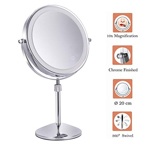 XIGG Miroir de Maquillage Double Face, Lumineux Miroir Maquillage 10X Grossissant, LED Miroir Cosmétique pour Rasage dans Salle de Bain À Piles Alimenté par Batterie