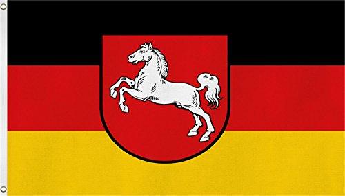 normani Bundesland Fahne, Grösse: ca. 90x150 cm, Ordentliche Qualität - Keine hauchdünne Ware - Stoffgewicht ca. 90 gr/m2, Reissfest, für Aussenbereich geeignet Farbe Niedersachsen
