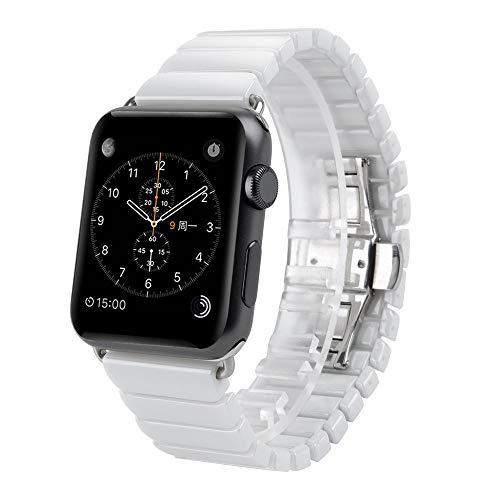 WAY-KE Banda De Reloj De Cerámica para Apple Watch 38MM 42MM Banda De Reemplazo De La Serie Iwatch Compatible,Blanco,38MM