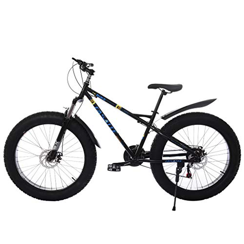 Infidev 26-inch Fat Tire Mountain Bike, 21-Speed Bicycle High-tensile Steel Frame, Fat Tire Sand Bike Double Disc Brake Suspension Fork Suspension Extra Stability Both for Men Women Use (Black)