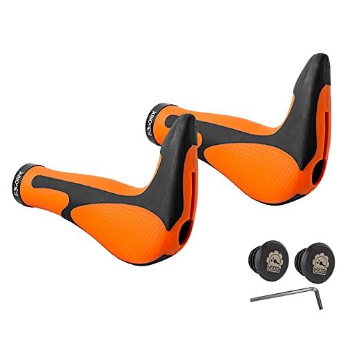 GORIX ゴリックス GX-849AD3-L1-G2 自転車エルゴグリップ+バーエンド(オレンジ)