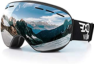 EXP VISION Snowboard Ski Goggles for Men Women and Youth, Over Glasses Skiing Snowboard Goggles with Anti Fog and UV400 Protection Dual Lenses Snow Goggles