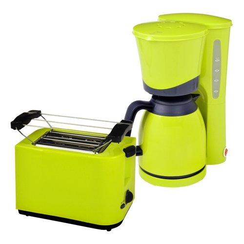 Efbe-Schott Frühstücksset TO 5000 + KA 520.1 2-Scheiben Toaster und Thermo-Kaffeemaschine 8 Tassen, lemone grün