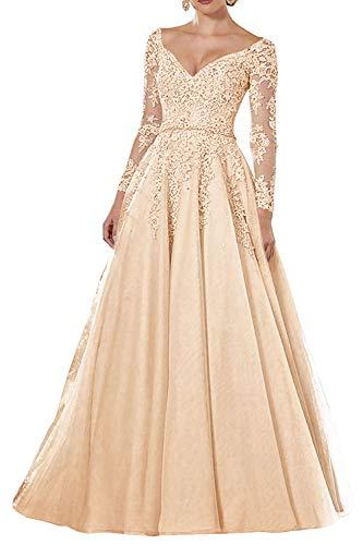 Vintage Abendkleider Lang Spitzen Ballkleider Brautmutterkleider A-Linie Hochzeitskleid Langarm Maxikleider Champagne 50