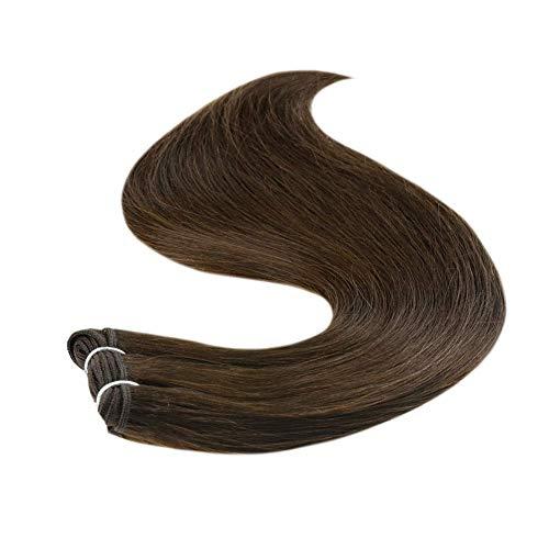 Runature Weft Tressen Haarverlängerungen Natürliche 35Cm 14 Zoll Einfarbig 4 Schokoladenbraun 100g 1 Stück Glattes Echtes Haar Extensions