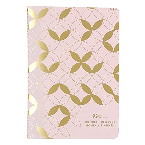 Monthly Petite Planner in Mid Century Circles, 18 Months, July 2021- December 2022, with Gold Metallic Mid Century Circles, Notes Pages, Metallic Sticker Sheet by Erin Condren