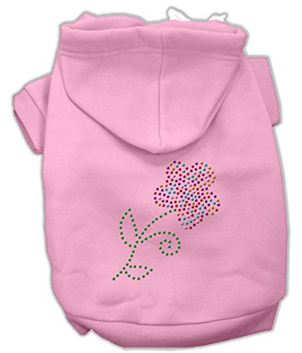 Mirage Pet Products 54-49 XPK Multicolored Flower Rhinestone Pink Hoodie, XX-Large