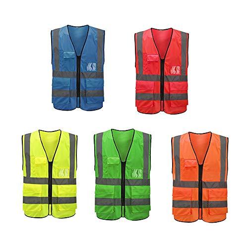 Mintice Verde reflexivo Seguridad chaleco de alta visibilidad engranaje raya chaqueta brillante deporte cinturón cuerpo ropa correr advertencia