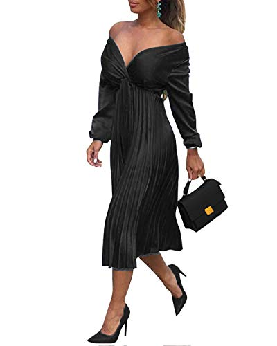 VIUVIU Dresses for Women Work,Women's Sexy V Neck Off Shoulder Cocktail Party Dresses High Wasit Ruched Pleated Midi Flwoy Swing Wedding Dresses Black L