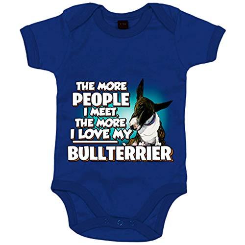 Body bebé I love my Bullterrier Atigrado raza perro - Azul Royal, 12-18 meses