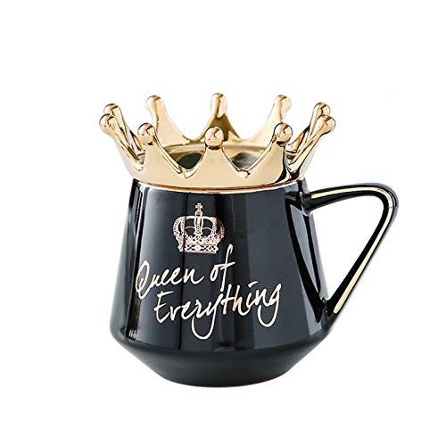 Taloit Queen of Everything Tasse mit Kronen-Deckel und Löffel, Keramik, Kaffeetasse, Geschenk für Freundin, Frau