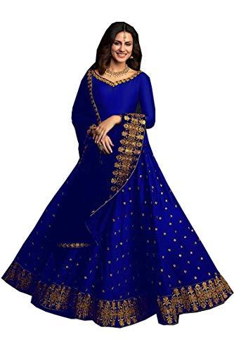 PURVAJA Women's Faux Silk Semi stitched Lehenga Choli (Royal Blue Kum Kum_Royal Blue_Free Size)