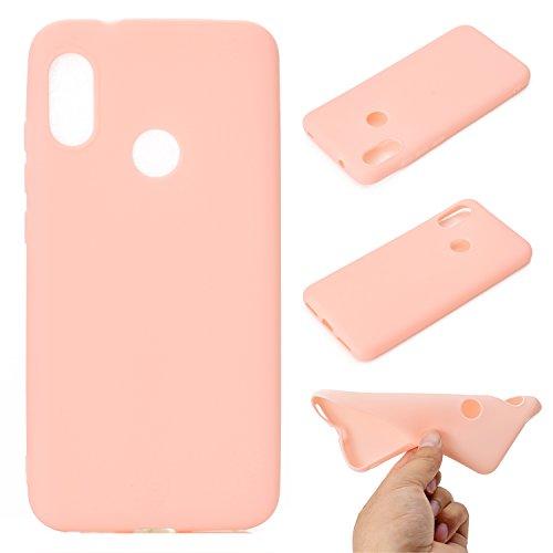 LeviDo Coque Compatible pour Xiaomi Redmi 6 Pro/Xiaomi Mi A2 Lite Étui Silicone Souple Bumper Antichoc TPU Gel Ultra Fine Mince Caoutchouc Bonbons Couleurs Etui Cover, Rose
