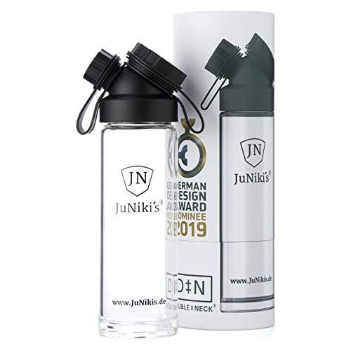 JuNiki´s® Glasflasche mit breiter Öffnung und Trinkaufsatz 550ml/18oz | Trinkflasche aus Borosilikatglas für unterwegs mit großer Öffnung | Kohlensäure-geeignet