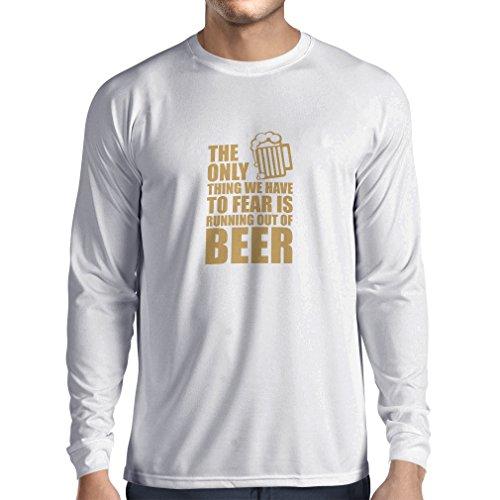 Camiseta de Manga Larga para Hombre Tener Miedo de no Tener una Cerveza - para la Fiesta, Bebiendo Camisetas (Large Blanco Oro)