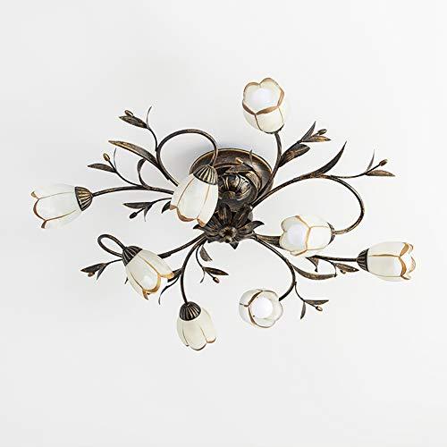 Retro Florentiner Deckenleuchte Blumenform Deckenlampe klassisch Kristall klar Chic-Stil Decorative Deckenbeleuchtung Ø80cm 8-flammig